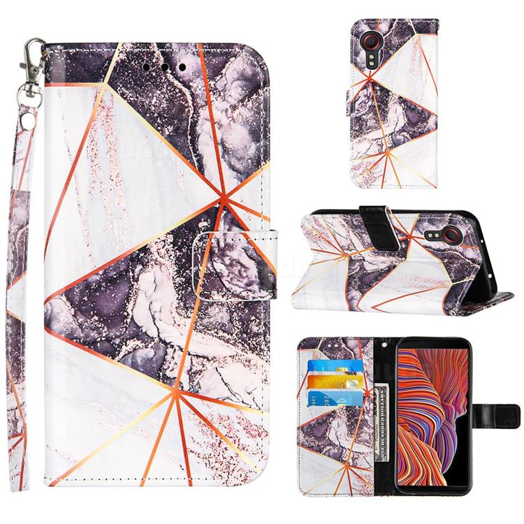 Black and White Stitching Color Marble Leather Wallet Case for Samsung Galaxy Xcover 5