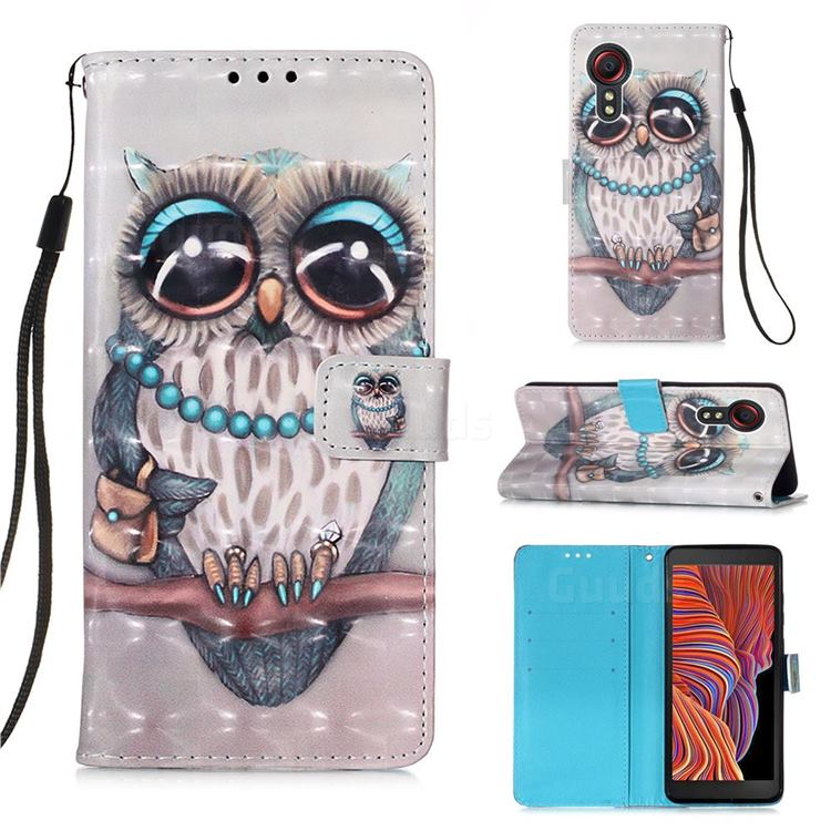 Sweet Gray Owl 3D Painted Leather Wallet Case for Samsung Galaxy Xcover 5