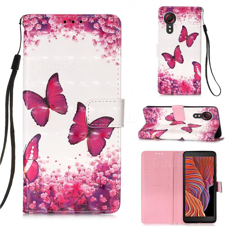 Rose Butterfly 3D Painted Leather Wallet Case for Samsung Galaxy Xcover 5