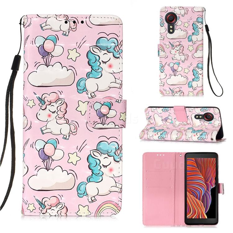 Angel Pony 3D Painted Leather Wallet Case for Samsung Galaxy Xcover 5