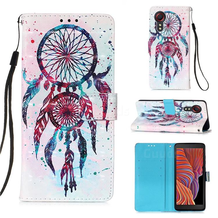 ColorDrops Wind Chimes 3D Painted Leather Wallet Case for Samsung Galaxy Xcover 5