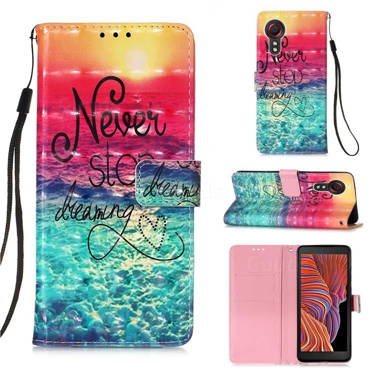 Colorful Dream Catcher 3D Painted Leather Wallet Case for Samsung Galaxy Xcover 5