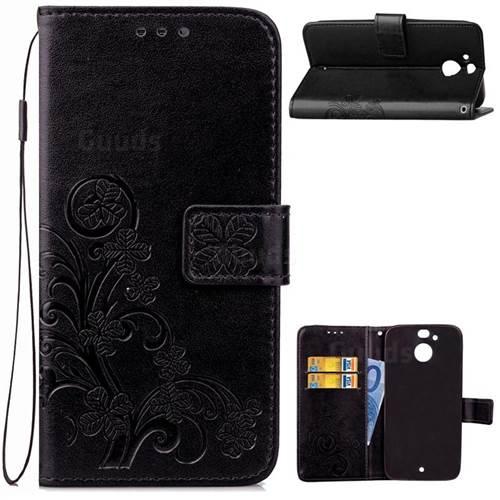 Embossing Imprint Four-Leaf Clover Leather Wallet Case for HTC 10 Evo / HTC Bolt - Black