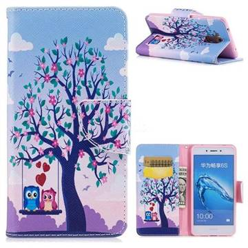 Tree and Owls Leather Wallet Case for Huawei Enjoy 6s Honor 6C Nova Smart