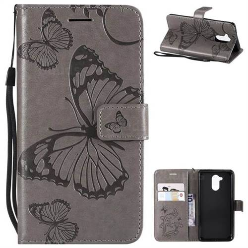 Embossing 3D Butterfly Leather Wallet Case for Huawei Enjoy 6s Honor 6C Nova Smart - Gray