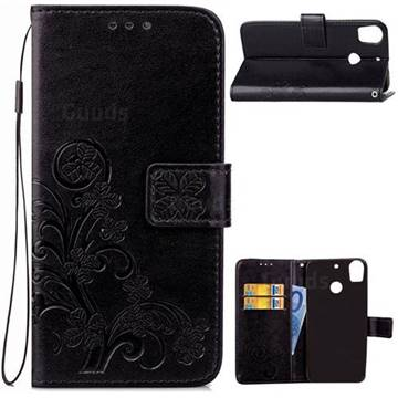 Embossing Imprint Four-Leaf Clover Leather Wallet Case for HTC Desire 10 Pro - Black