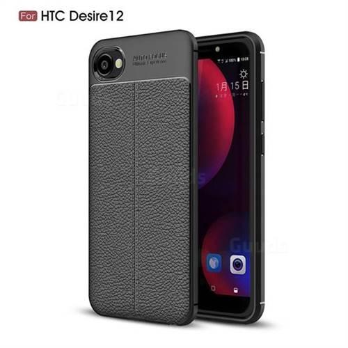Luxury Auto Focus Litchi Texture Silicone TPU Back Cover for HTC Desire 12(5.5 inch) - Black