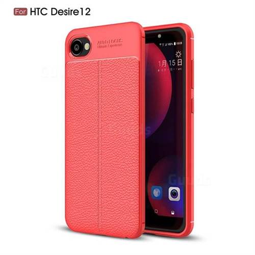 Luxury Auto Focus Litchi Texture Silicone TPU Back Cover for HTC Desire 12(5.5 inch) - Red