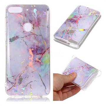 Pink Purple Marble Pattern Bright Color Laser Soft TPU Case for HTC Desire 12+ Plus (6.0 inch)