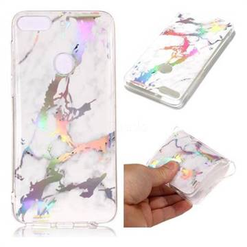 White Marble Pattern Bright Color Laser Soft TPU Case for HTC Desire 12+ Plus (6.0 inch)