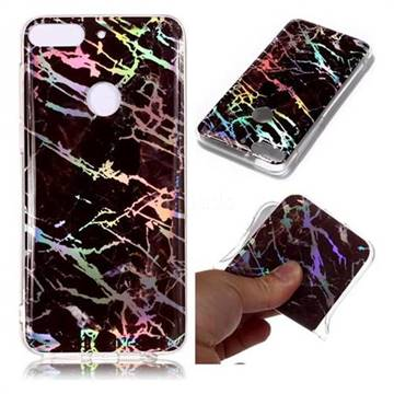 Black Brown Marble Pattern Bright Color Laser Soft TPU Case for HTC Desire 12+ Plus (6.0 inch)