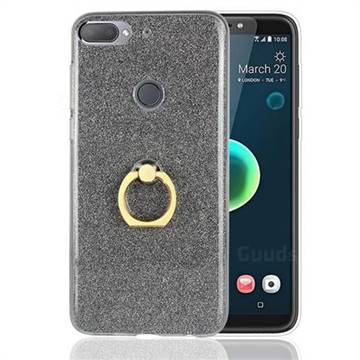 Luxury Soft TPU Glitter Back Ring Cover with 360 Rotate Finger Holder Buckle for HTC Desire 12+ Plus (6.0 inch) - Black
