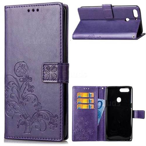 Embossing Imprint Four-Leaf Clover Leather Wallet Case for HTC Desire 12+ Plus (6.0 inch) - Purple