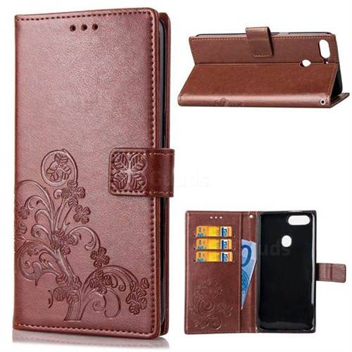 Embossing Imprint Four-Leaf Clover Leather Wallet Case for HTC Desire 12+ Plus (6.0 inch) - Brown
