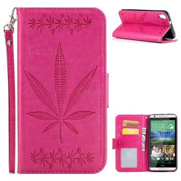 Intricate Embossing Maple Leather Wallet Case for HTC Desire 820 D820 - Rose
