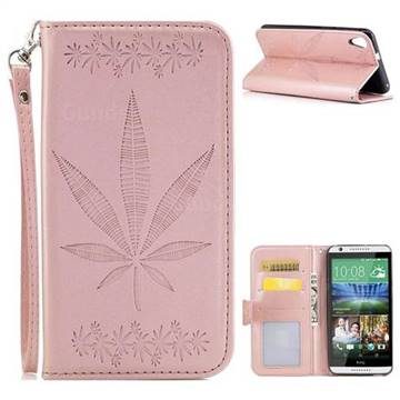 Intricate Embossing Maple Leather Wallet Case for HTC Desire 820 D820 - Rose Gold