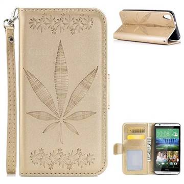 Intricate Embossing Maple Leather Wallet Case for HTC Desire 820 D820 - Champagne