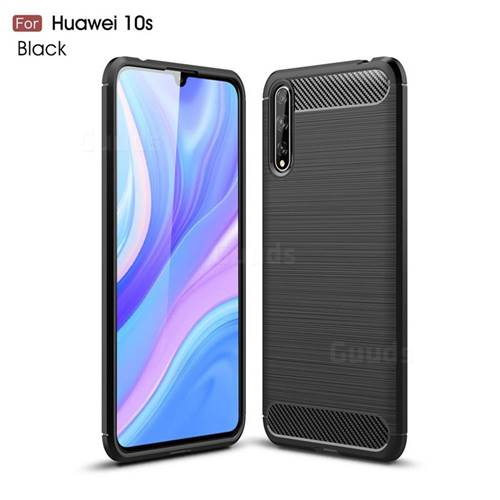 Luxury Carbon Fiber Brushed Wire Drawing Silicone TPU Back Cover for Huawei Enjoy 10s - Black