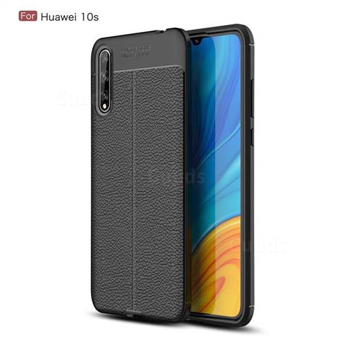 Luxury Auto Focus Litchi Texture Silicone TPU Back Cover for Huawei Enjoy 10s - Black