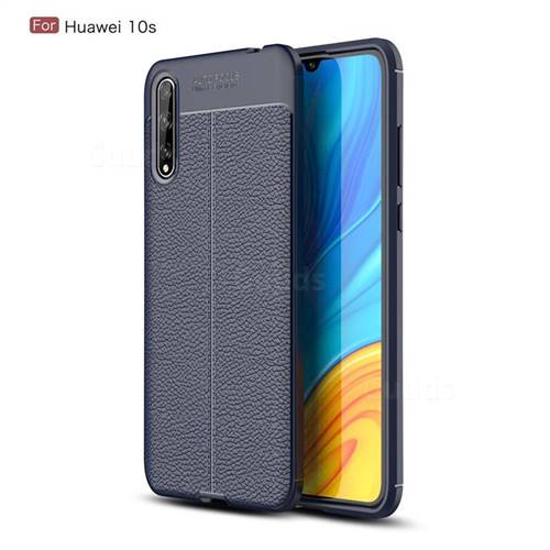 Luxury Auto Focus Litchi Texture Silicone TPU Back Cover for Huawei Enjoy 10s - Dark Blue