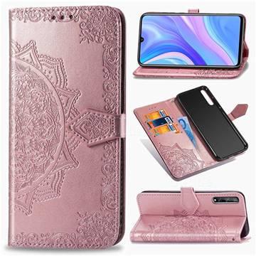 Embossing Imprint Mandala Flower Leather Wallet Case for Huawei Enjoy 10s - Rose Gold