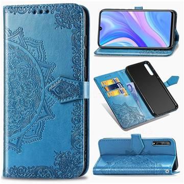 Embossing Imprint Mandala Flower Leather Wallet Case for Huawei Enjoy 10s - Blue