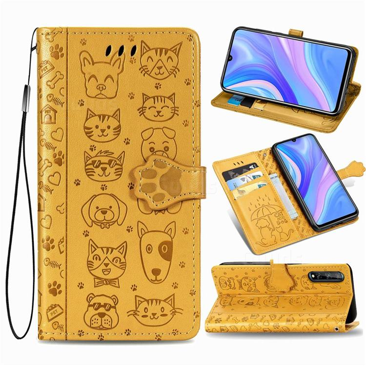 Embossing Dog Paw Kitten and Puppy Leather Wallet Case for Huawei Enjoy 10s - Yellow