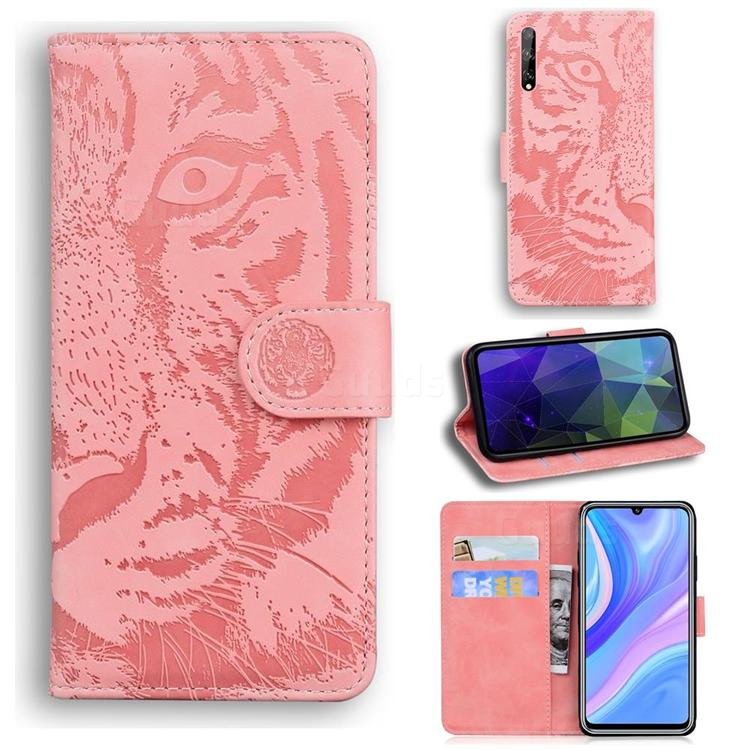 Intricate Embossing Tiger Face Leather Wallet Case for Huawei Enjoy 10s - Pink