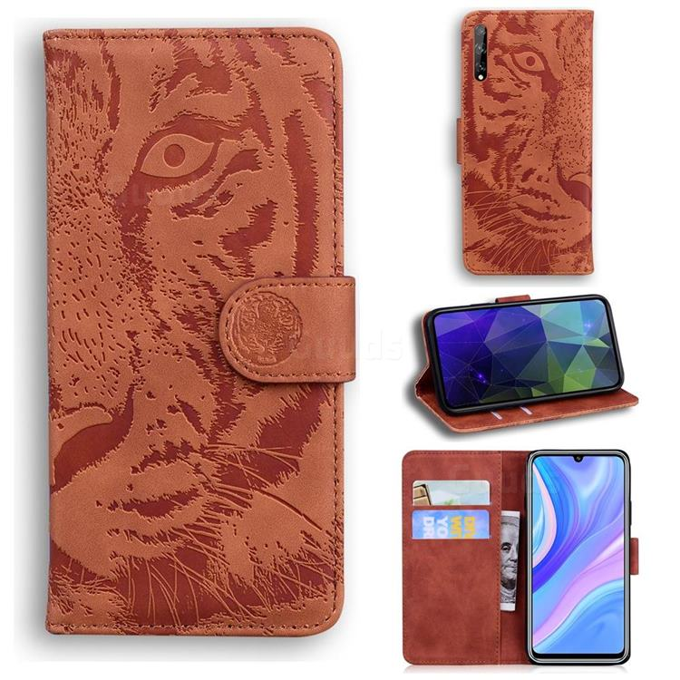 Intricate Embossing Tiger Face Leather Wallet Case for Huawei Enjoy 10s - Brown