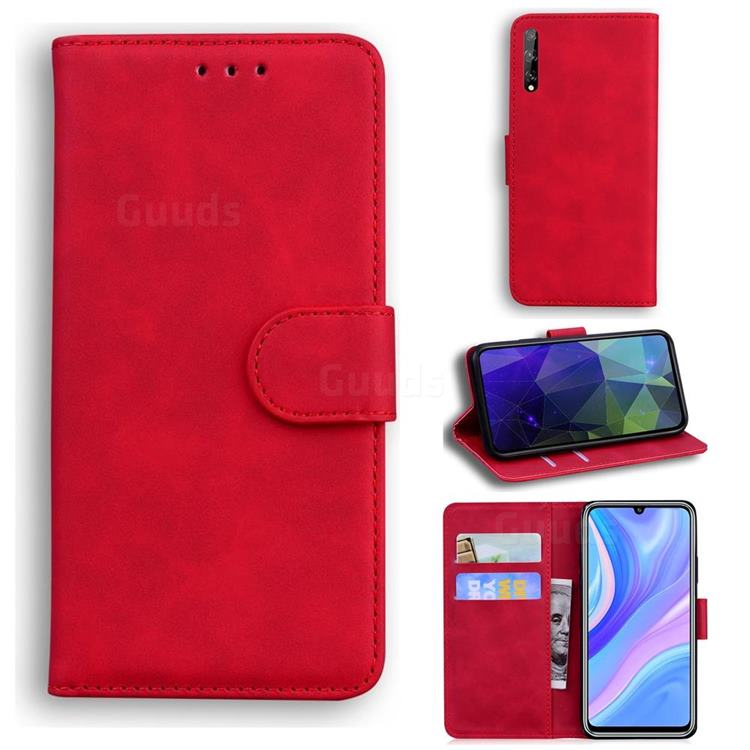 Retro Classic Skin Feel Leather Wallet Phone Case for Huawei Enjoy 10s - Red