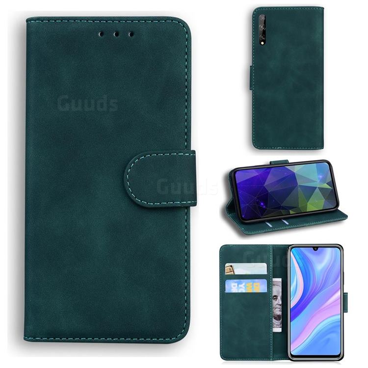 Retro Classic Skin Feel Leather Wallet Phone Case for Huawei Enjoy 10s - Green