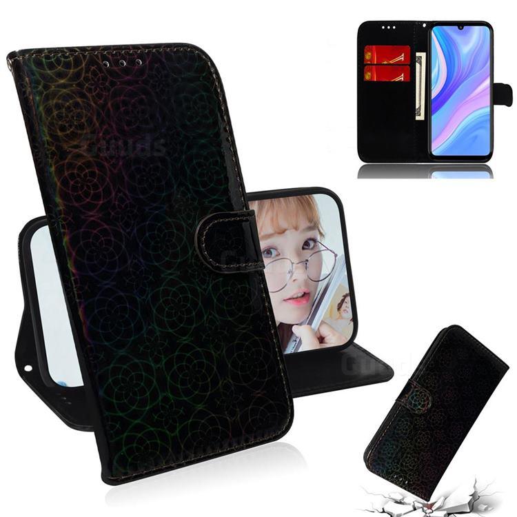 Laser Circle Shining Leather Wallet Phone Case for Huawei Enjoy 10s - Black