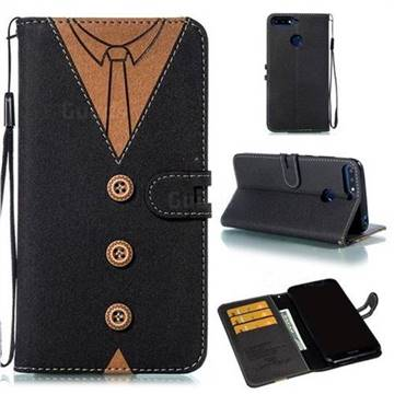 Mens Button Clothing Style Leather Wallet Phone Case for Huawei Enjoy 8E - Black