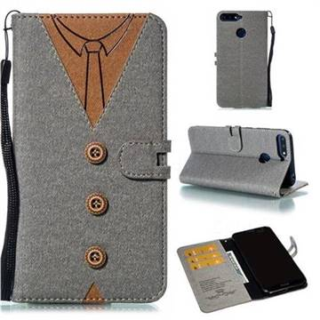 Mens Button Clothing Style Leather Wallet Phone Case for Huawei Enjoy 8E - Gray