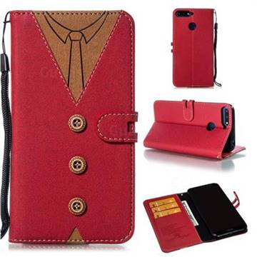 Mens Button Clothing Style Leather Wallet Phone Case for Huawei Enjoy 8E - Red