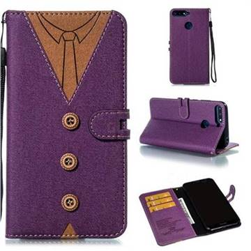 Mens Button Clothing Style Leather Wallet Phone Case for Huawei Enjoy 8E - Purple