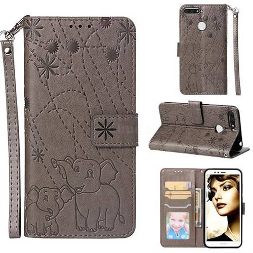 Embossing Fireworks Elephant Leather Wallet Case for Huawei Enjoy 8E - Gray