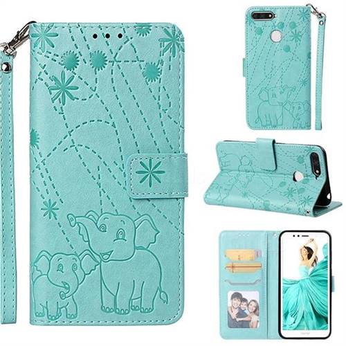 Embossing Fireworks Elephant Leather Wallet Case for Huawei Enjoy 8E - Green
