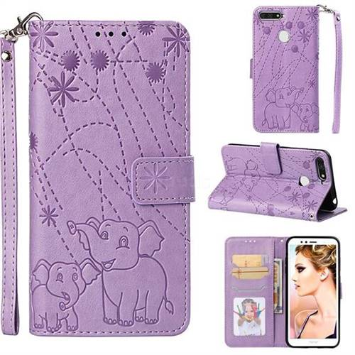 Embossing Fireworks Elephant Leather Wallet Case for Huawei Enjoy 8E - Purple