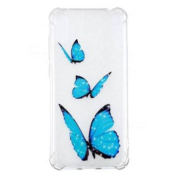 Blue butterfly Anti-fall Clear Varnish Soft TPU Back Cover for Huawei Enjoy 9