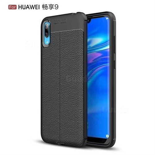Luxury Auto Focus Litchi Texture Silicone TPU Back Cover for Huawei Enjoy 9 - Black