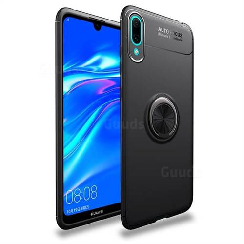 Auto Focus Invisible Ring Holder Soft Phone Case for Huawei Enjoy 9 - Black