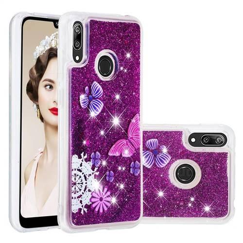 Purple Flower Butterfly Dynamic Liquid Glitter Quicksand Soft TPU Case for Huawei Enjoy 9