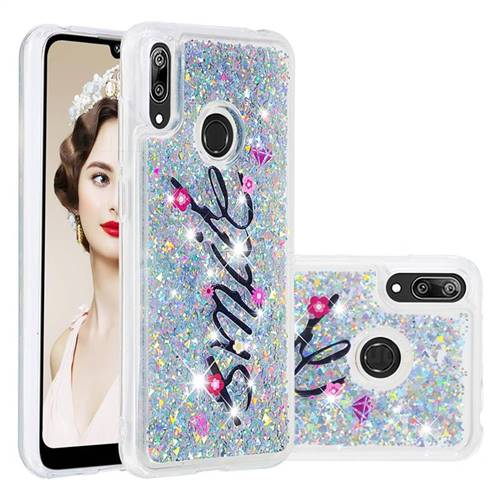 Smile Flower Dynamic Liquid Glitter Quicksand Soft TPU Case for Huawei Enjoy 9