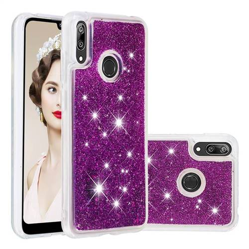 Dynamic Liquid Glitter Quicksand Sequins TPU Phone Case for Huawei Enjoy 9 - Purple