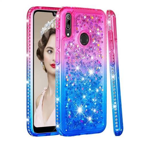 Diamond Frame Liquid Glitter Quicksand Sequins Phone Case for Huawei Enjoy 9 - Pink Blue