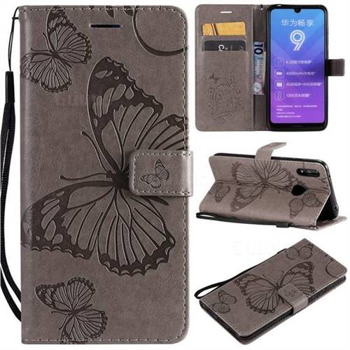 Embossing 3D Butterfly Leather Wallet Case for Huawei Enjoy 9 - Gray