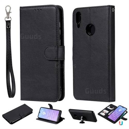 Retro Greek Detachable Magnetic PU Leather Wallet Phone Case for Huawei Enjoy 9 - Black