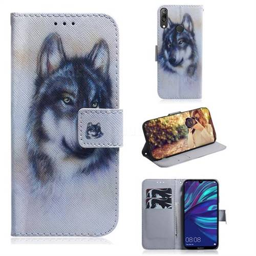 Snow Wolf PU Leather Wallet Case for Huawei Enjoy 9