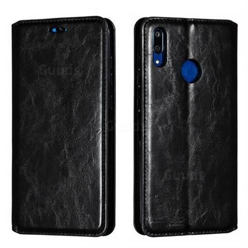 Retro Slim Magnetic Crazy Horse PU Leather Wallet Case for Huawei Enjoy 9 - Black